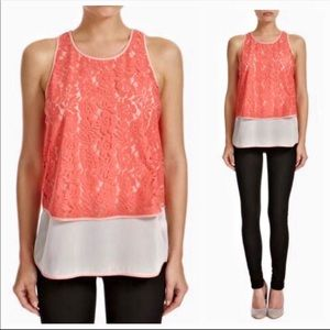 French Connection Hi Low Lace Lace Layer Top